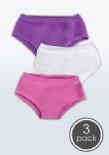 SmartKnitKIDS Seamless Undies for Girls - 3pack: Pink/Purple/White Brief Pants